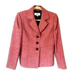 Le Suit* Blazer Red Three Button Style Ladies 6P